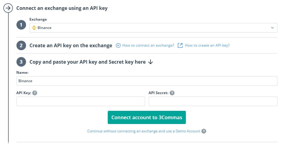 Connect your exchange using API key.