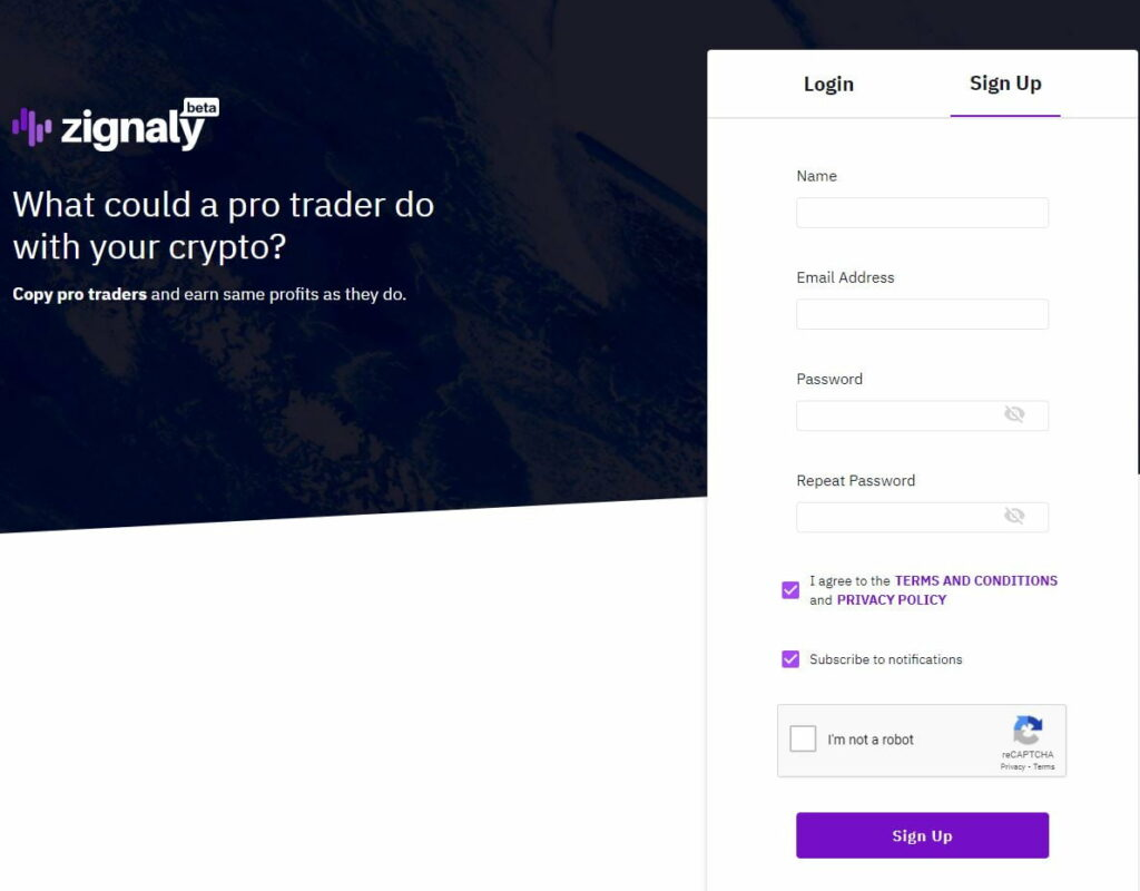 Zignaly main page and creating account box
