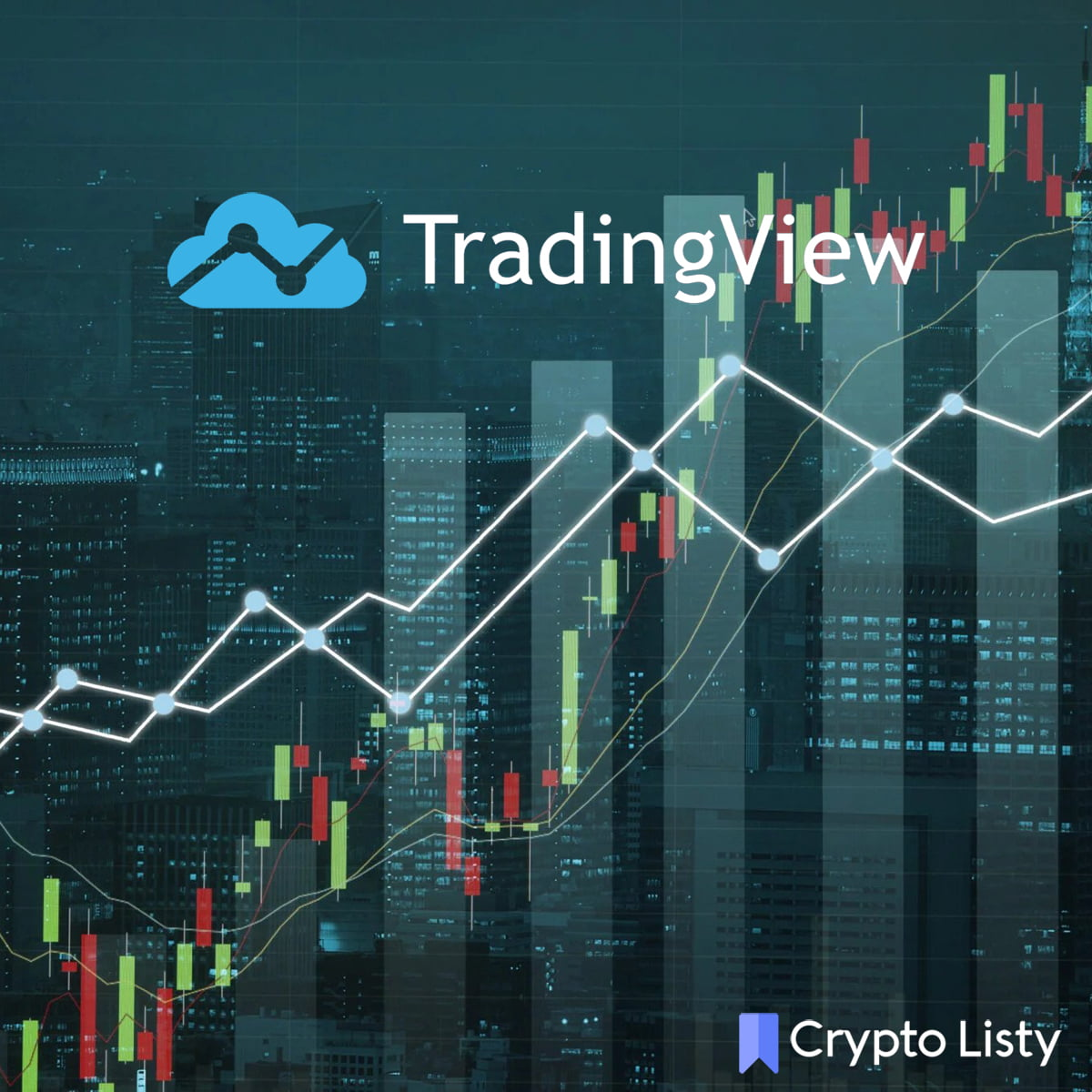 Trading view logo on a trading chart.