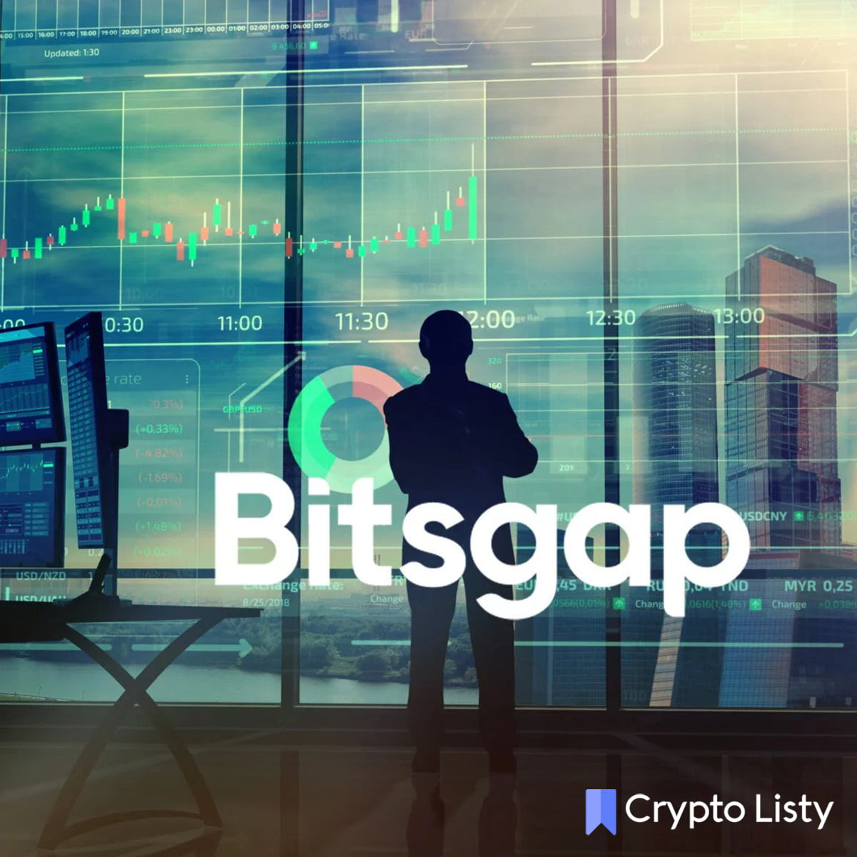 A man standing in a trading workplace and bitsgap logo is there.