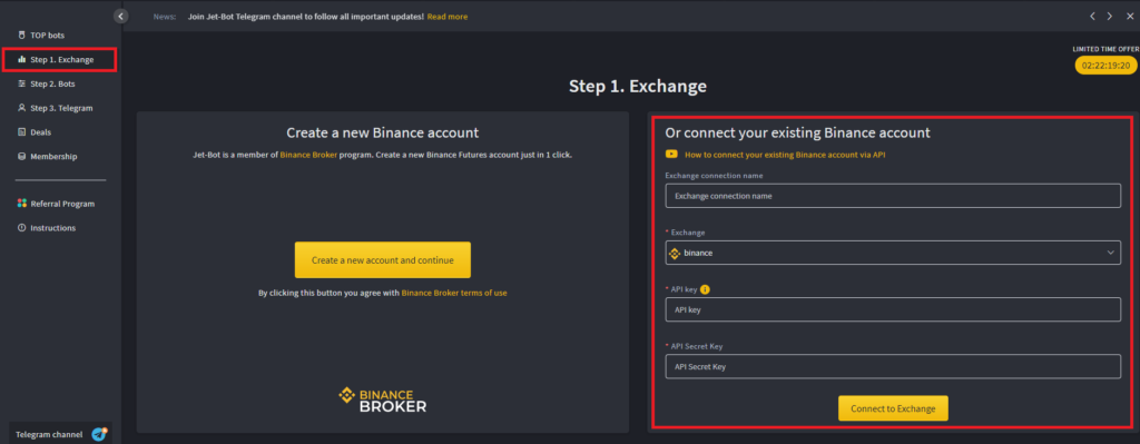 Instructions on how to connect your exchange.