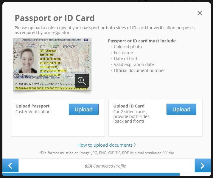 instructions on how to upload id/passport to eToro.