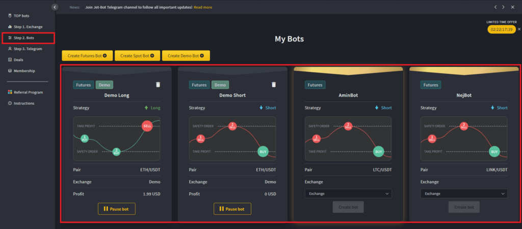 Instructions on how to set up your first bot.
