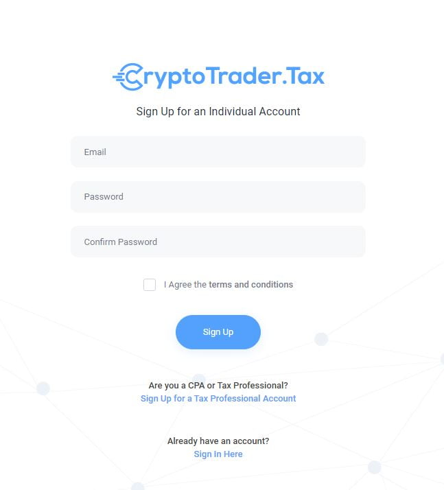 CryptotraderTax sign up box asking for email password and password confirmation.
