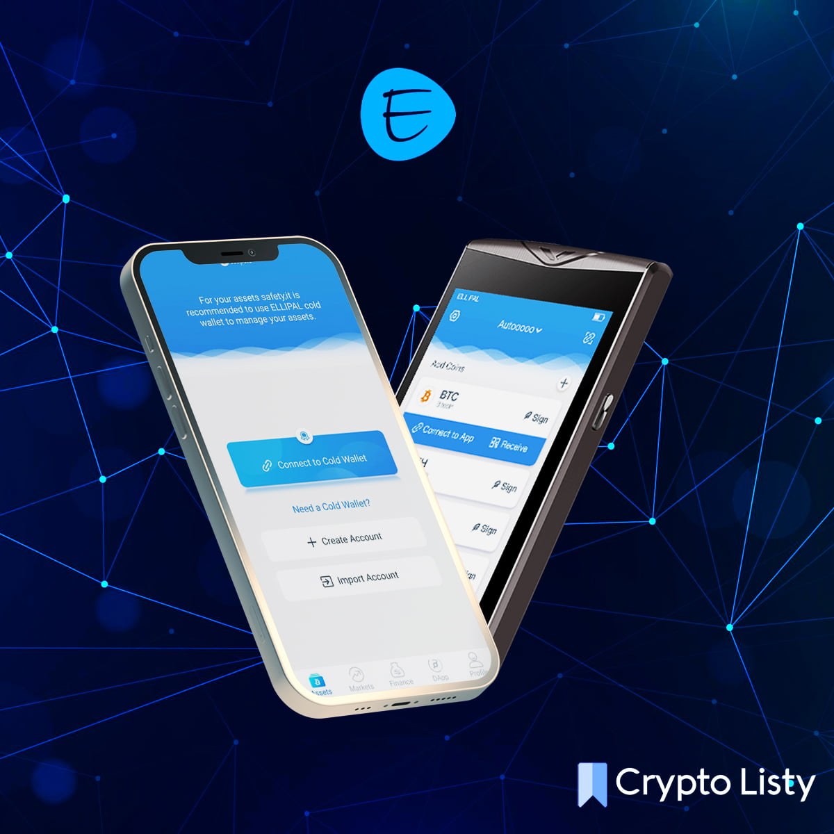 phone openning ellipal app and ellipal cold wallet next to it.
