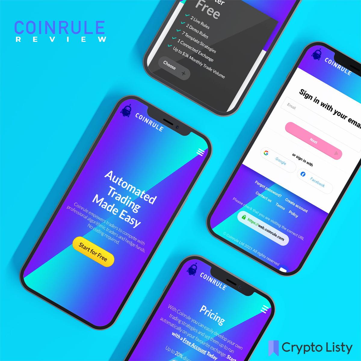 Phones browsing Coinrule website.