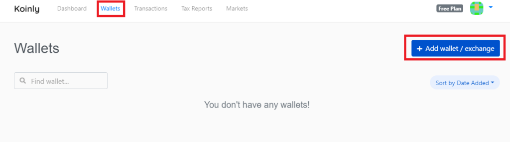 Selecting wallets on Koinly main page and then selecting 'add wallet/exchange'