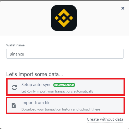 Box appears after choosing desired-to-connect wallet and linking it to Koinly account.