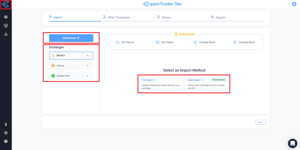 CryptotraderTax dashboard with instructions on how to connect your exchange.