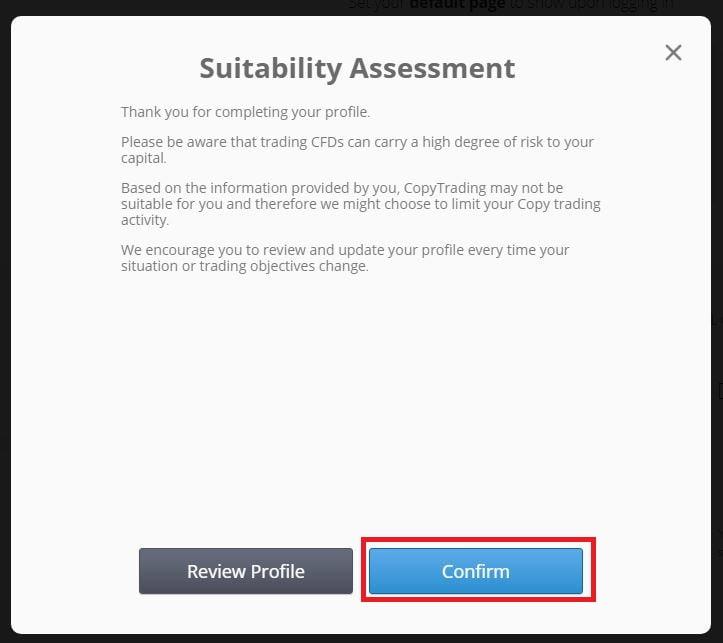 eToro suitability assessment,