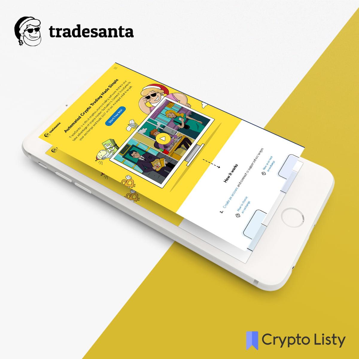 Phone browsing TradeSanta website.