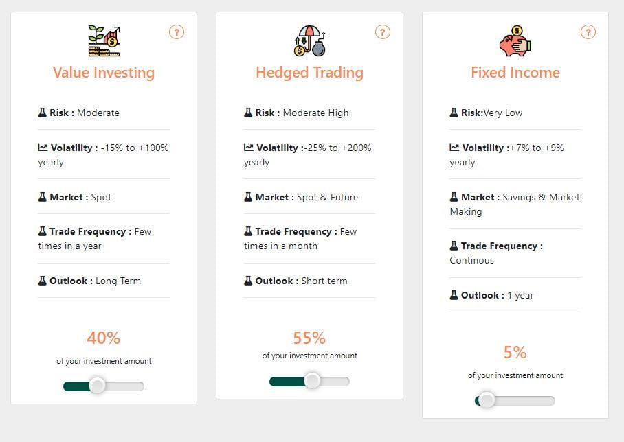 Managing amounts of investments on Botsfolio.