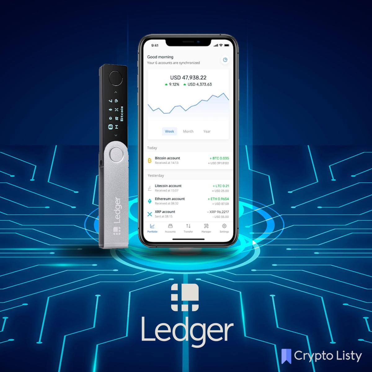Ledger Nano X device next to a phone.