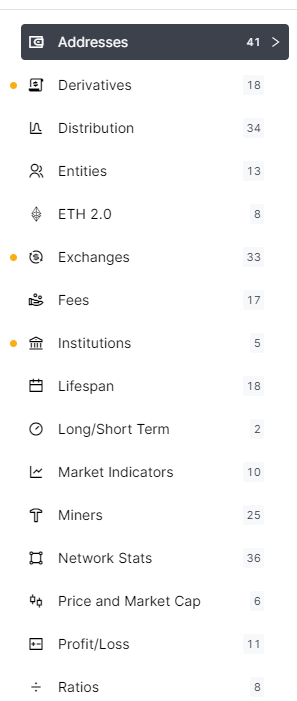 Glassnode has different metrics that you can view on charts with over ten years of data.