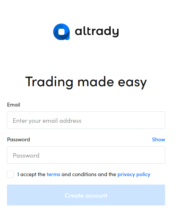 Sign-up to Altrady with only your email and password.