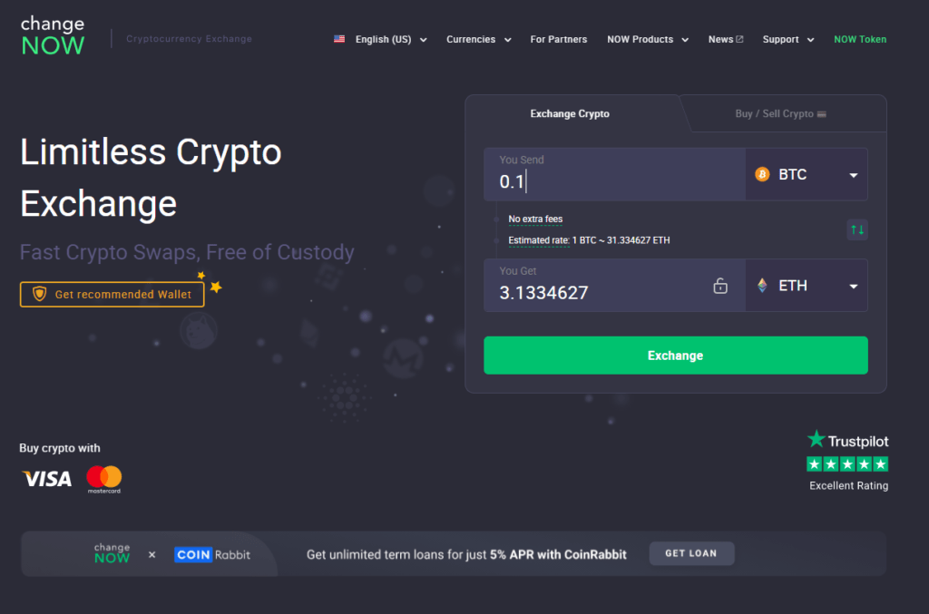 ChangeNow website is simple and functional.