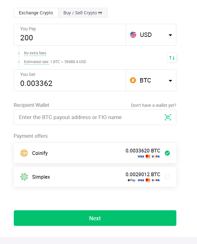 buying/selling crypto on ChangeNow will take you only a couple of minutes.