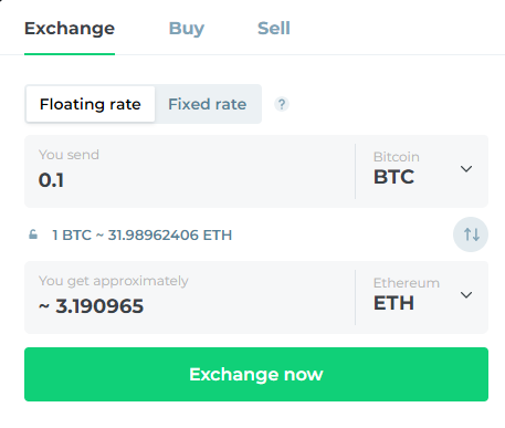 Specify the amount of crypto you'd like to exchange on Changelly.