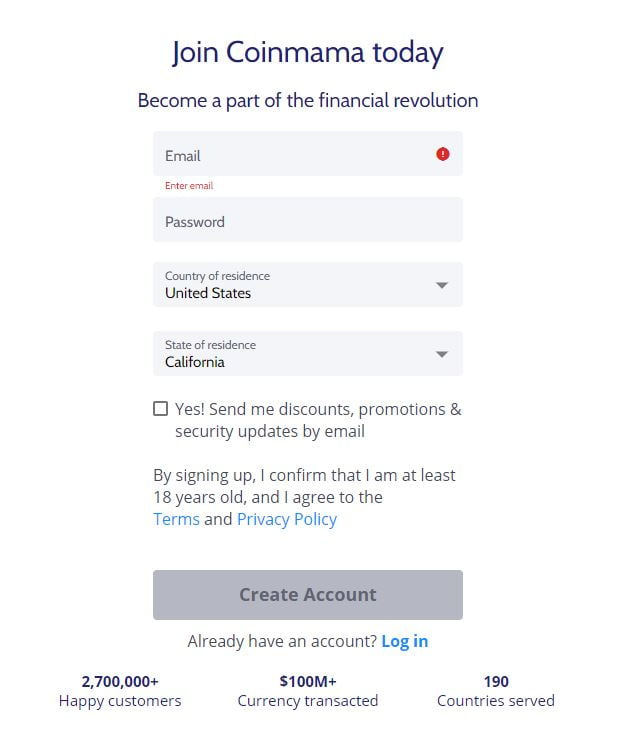 Sign-up for Coinmama with your email and password.