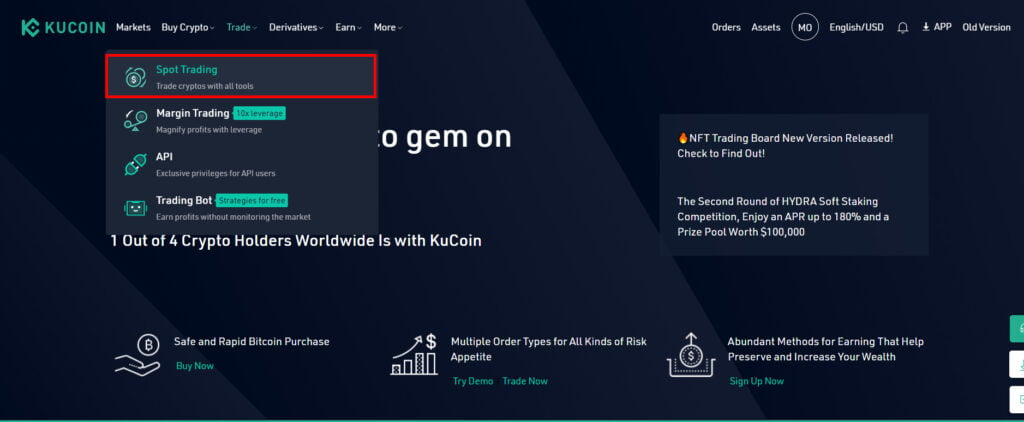 Click on Spot trading to start trading on KuCoin.