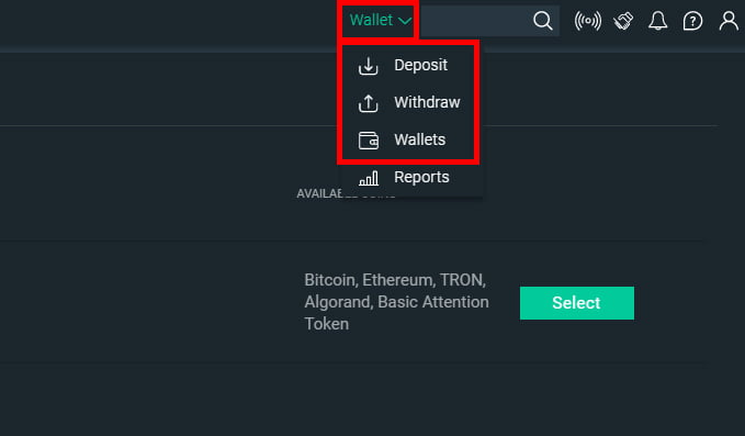 Use your wallet on Bitfinex to withdraw or deposit funds.