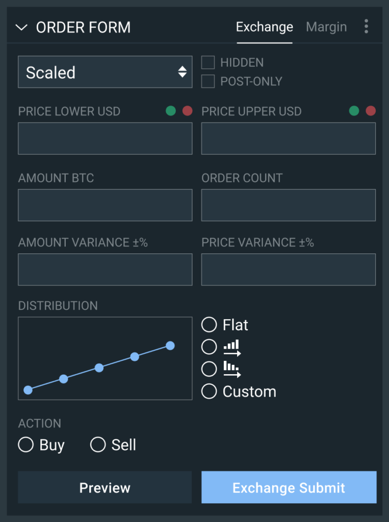Advanced order types on Bitfinex will enable you to easily place orders.