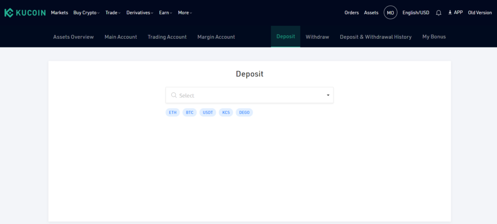 You can deposit different coins into your KuCoin wallet to start trading with.