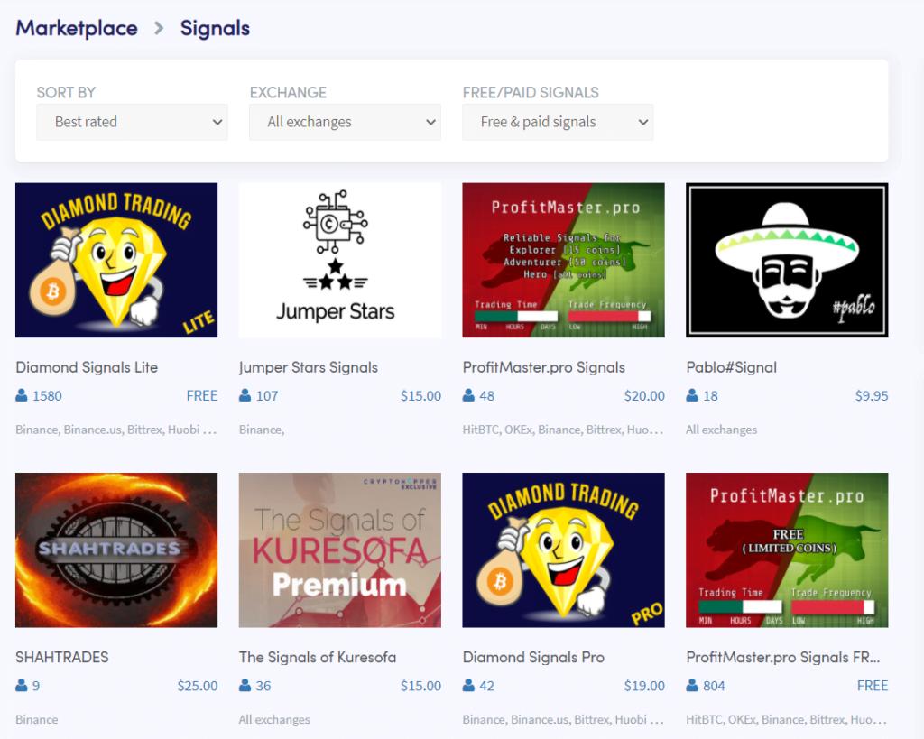 Copy Signals on CryptoHopper Best copy-trading platforms