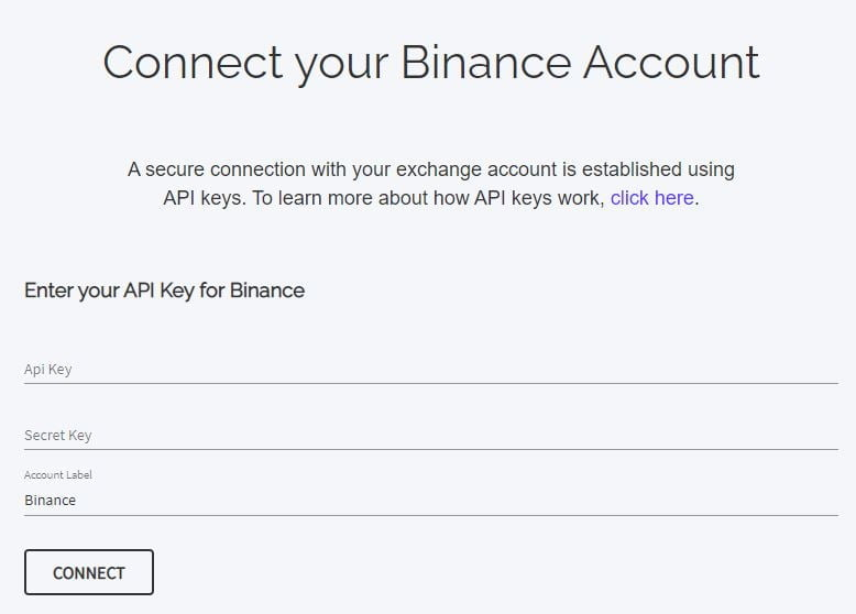 Enter your exchange's API key and private key.