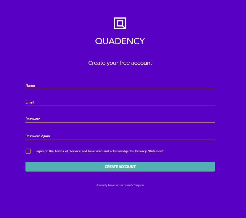 Sign up on Quadency to create your grid bot