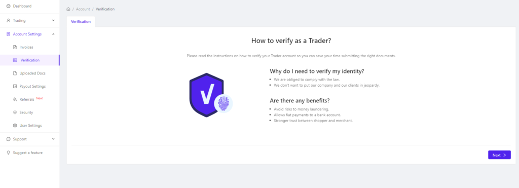 Verify your CoinGate account.