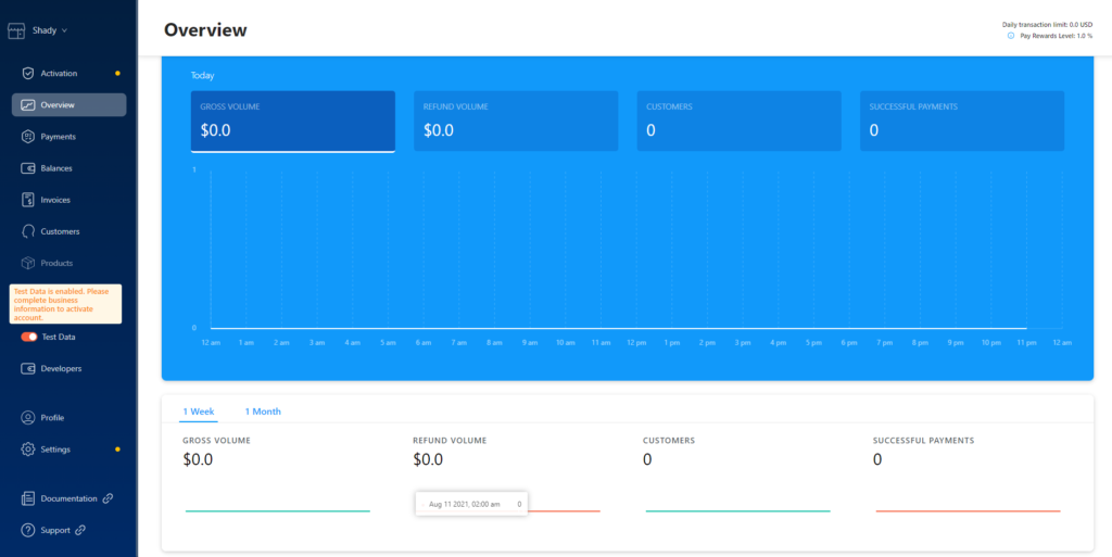 Crypto.com Pay Merchant Dashboard.
